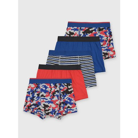 Blue Camouflage Trunks 5 Pack - 13-14 years