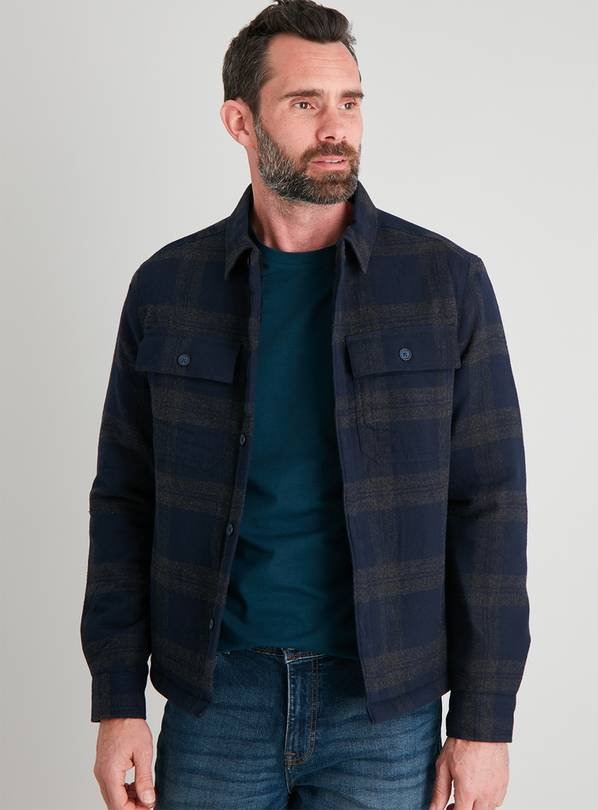 Navy & Grey Check Borg Lined Overshirt - XXL