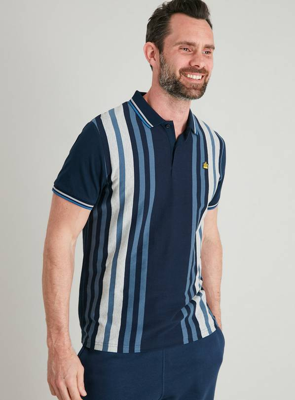 Blue Vertical Stripe Polo Shirt - S