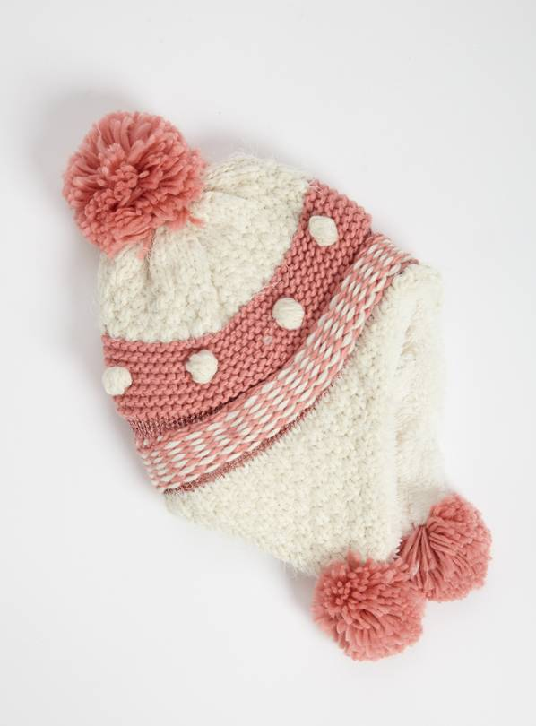 Pink Knitted Trapper Hat - 1-2 years