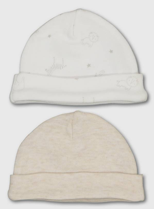 Oatmeal Premature Baby Hat 2 Pack - 3lbs - 1.4kg