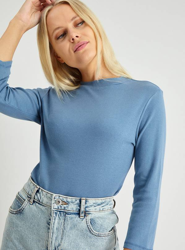 Blue High Neck Long Sleeve T-Shirt - 20