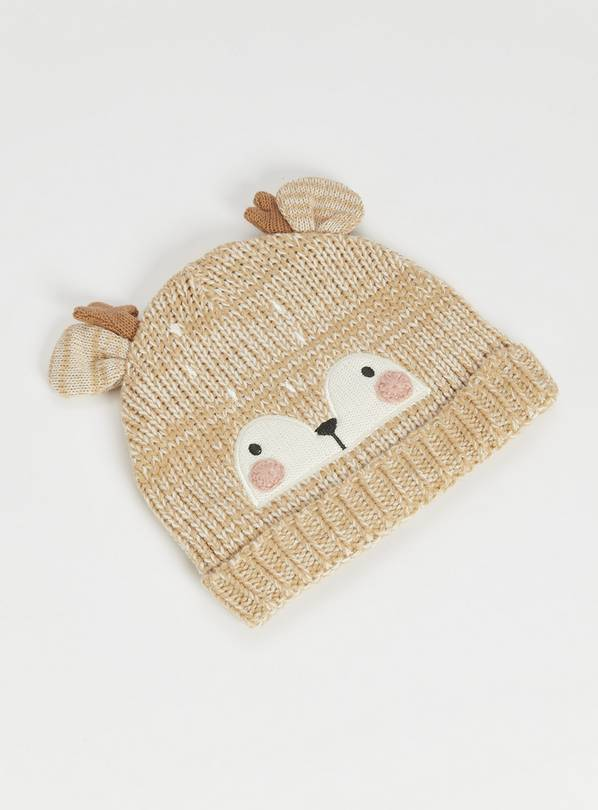 Brown Deer Knitted Hat - 6-12 months