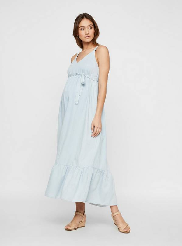 Denim Maxi Maternity Dress - 8