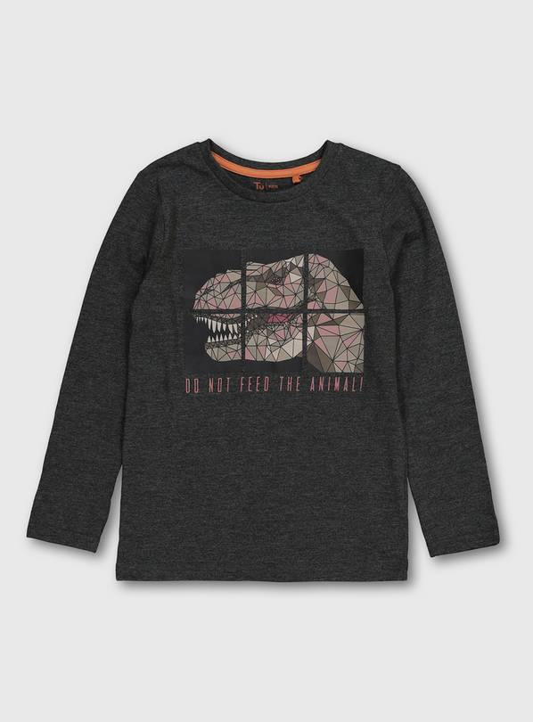 Charcoal Dinosaur Long Sleeve Top - 12 years