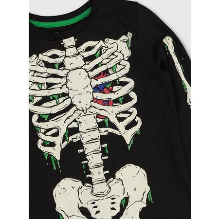 Halloween Skeleton Glow In The Dark Top - 3 years