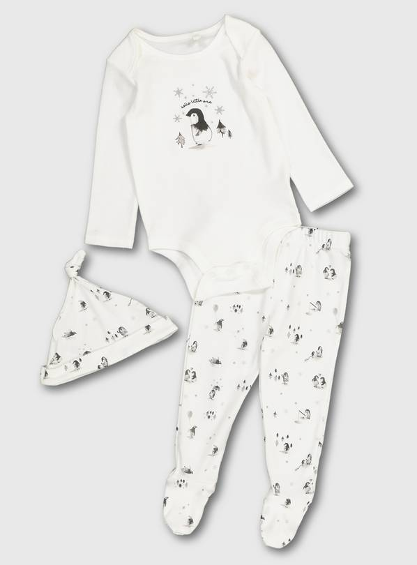 Penguin Organic Cotton Bodysuit Set - Up to 3 mths