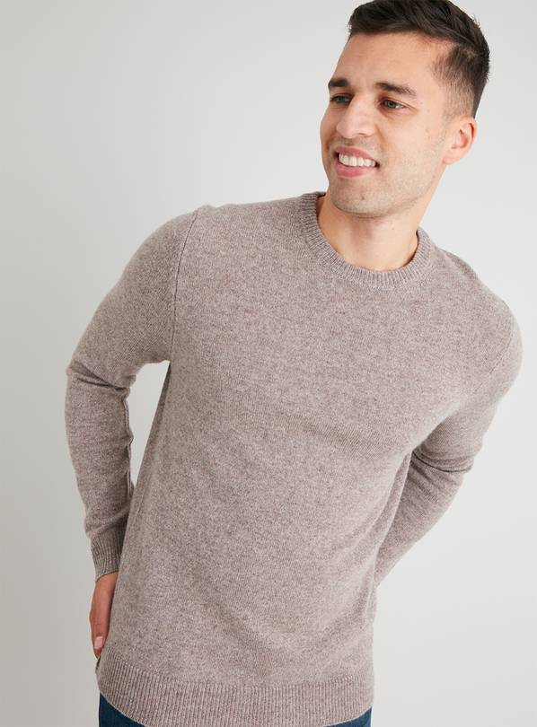 Stone Crew Neck Lambswool Rich Jumper - S