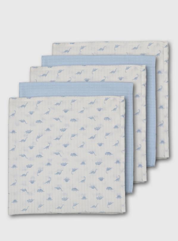Buy Blue Dinosaur Muslin Squares 5 Pack - One Size   Bibs ...