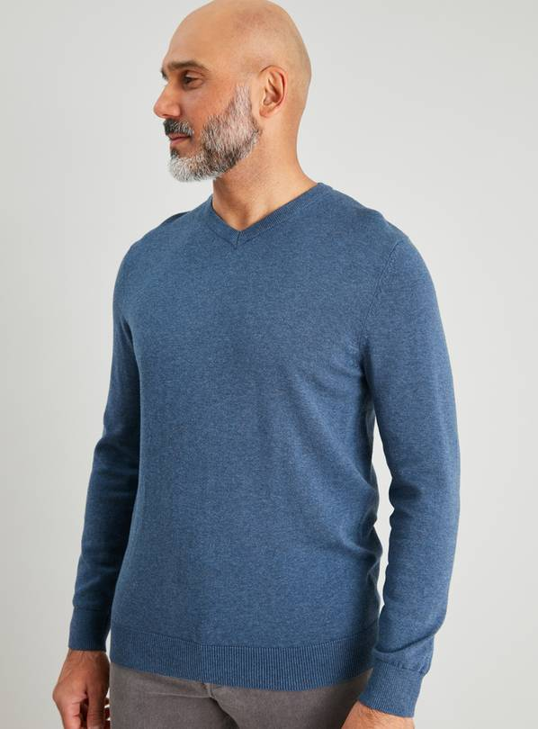 Blue Marl V-Neck Long Sleeve Jumper - XL