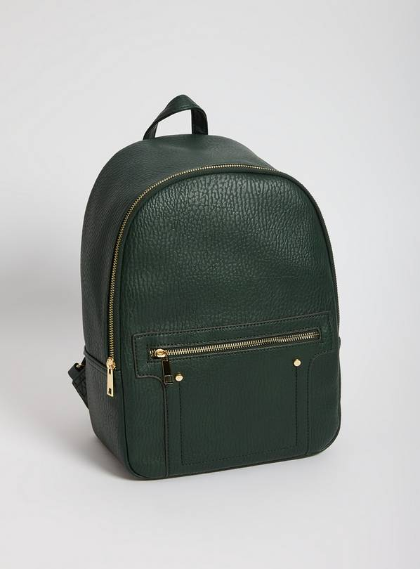 Green Faux Leather Backpack - One Size