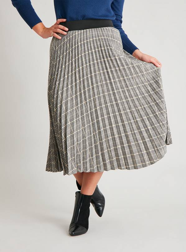 Check Pleated Midi Skirt - 10