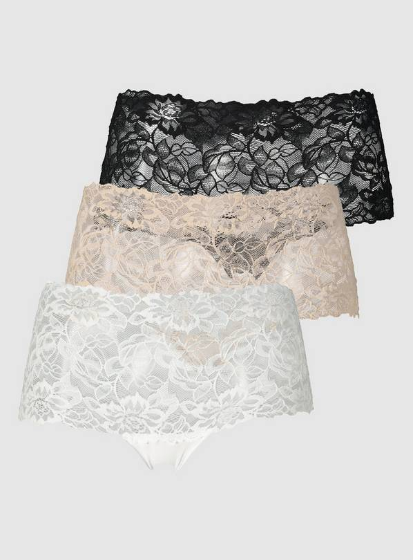 Black, Natural & White Galloon Knicker Short 3 Pack - 10