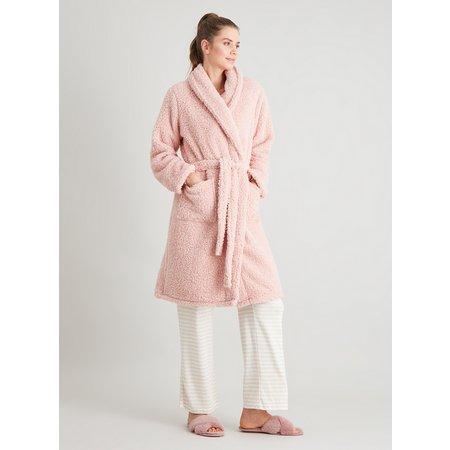 Pink Borg Fleece Dressing Gown - S