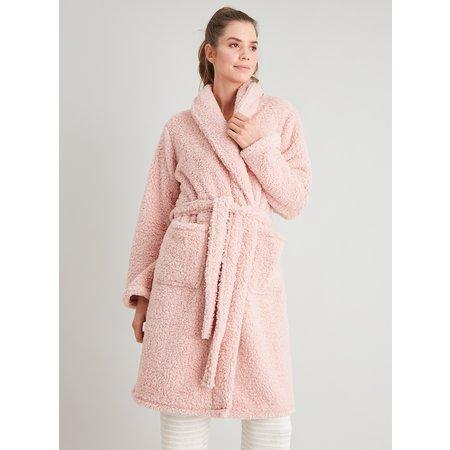 Pink Borg Fleece Dressing Gown - L