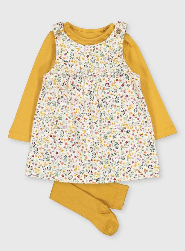 Floral Corduroy Pinafore, Bodysuit & Tights - 6-9 months