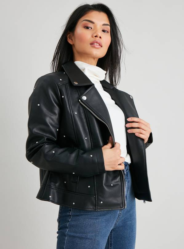 PETITE Black Studded Faux Leather Jacket - 12
