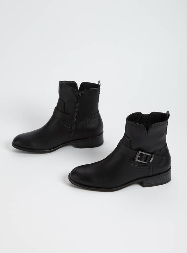 Black Faux Leather Ankle Boots - 6