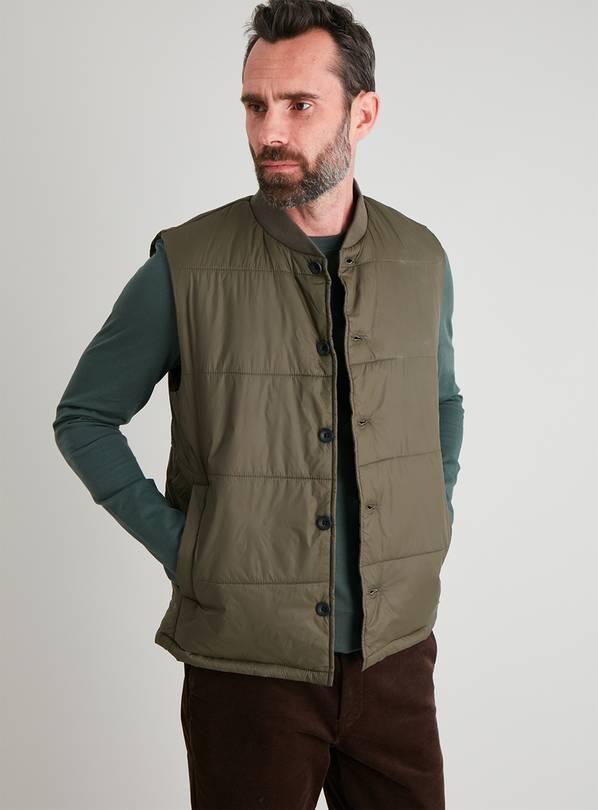 Khaki Baseball Collar Gilet - XL