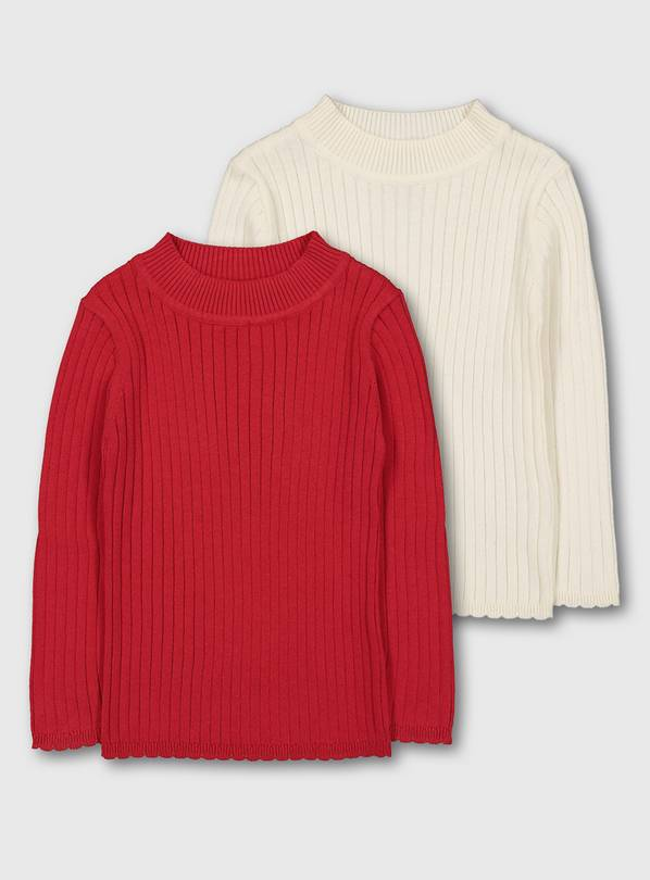 Red & Cream Ribbed Jumper 2 Pack - 1-1.5 years