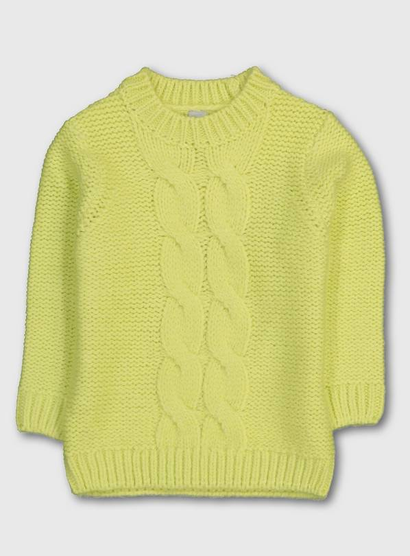 Neon Yellow Cable Knit Jumper - 13 years