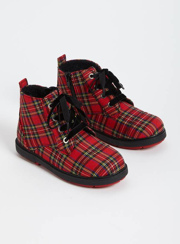 Red Tartan Lace Up Boots - 8 Infant