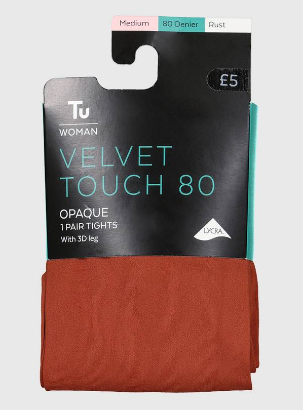 Rust Velvet Touch 80 Denier Tights - L