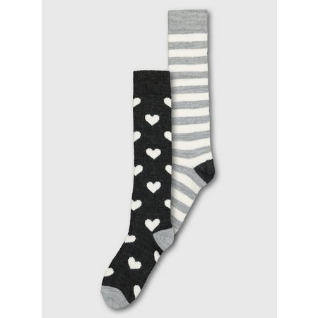 Heart & Stripe Thermal Knee High Socks 2 Pack - 4-8