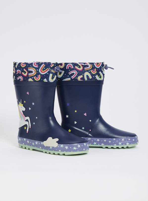 Navy Unicorn Cuff Wellies - 11 Infant