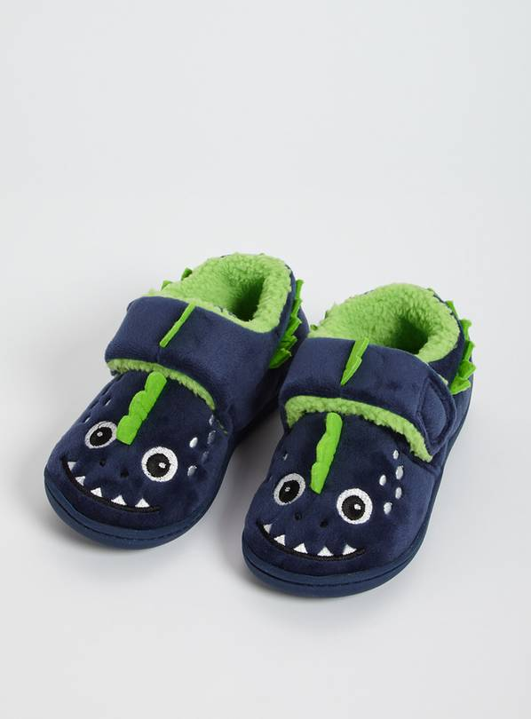 Navy Dinosaur Cupsole Slippers - 10-11 Infant