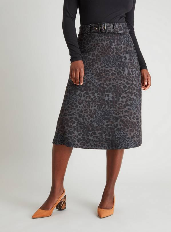 Animal Print Belted Ponte Skirt - 18