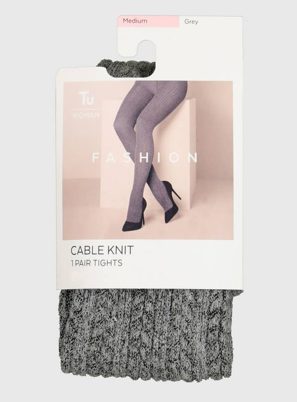 Grey Cable Knit Tights - L