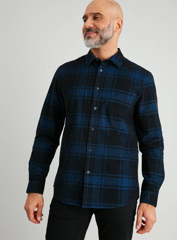 Blue & Black Check Regular Fit Corduroy Shirt - M