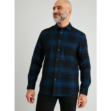 Blue & Black Check Regular Fit Corduroy Shirt - XXXXL