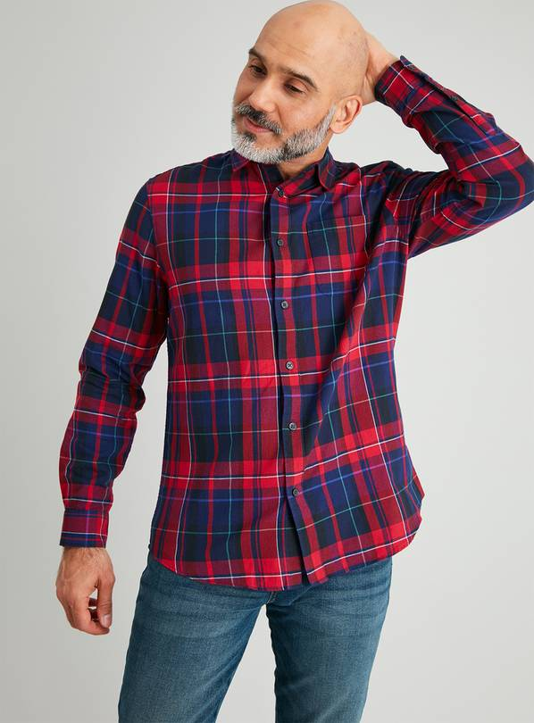 Red & Navy Tartan Regular Fit Shirt - M