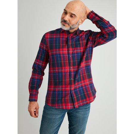 Red & Navy Tartan Regular Fit Shirt - XL