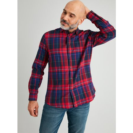 Red & Navy Tartan Regular Fit Shirt - XXXL