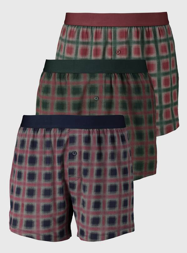 Lodge Check Jersey Boxers 3 Pack - S