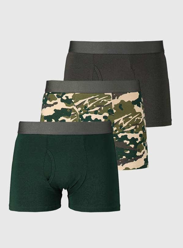Green Camouflage Trunks 3 Pack - S
