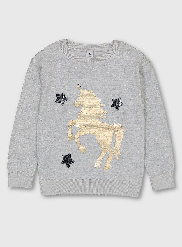 Silver Glittery Sequin Unicorn Jumper