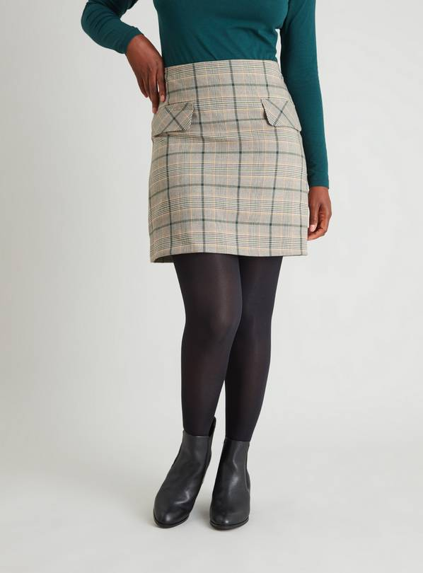 Dogtooth Check A-Line Skirt - 8