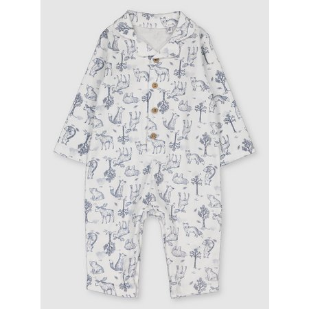 Blue & White Woodland Print Romper - Up to 3 mths