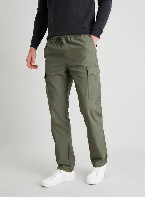 Khaki Straight Leg Pull On Cargo Trousers - W36 L34