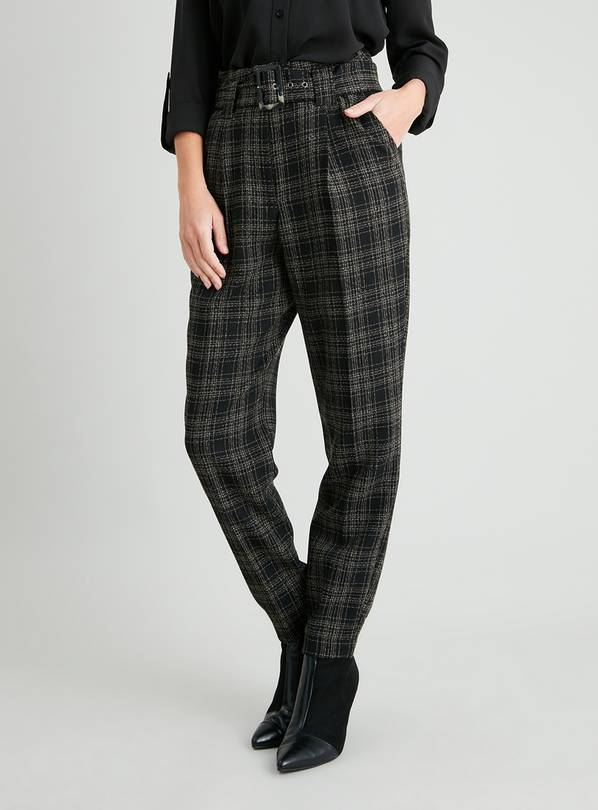 Check Tweed Belted Tapered Trousers - 24