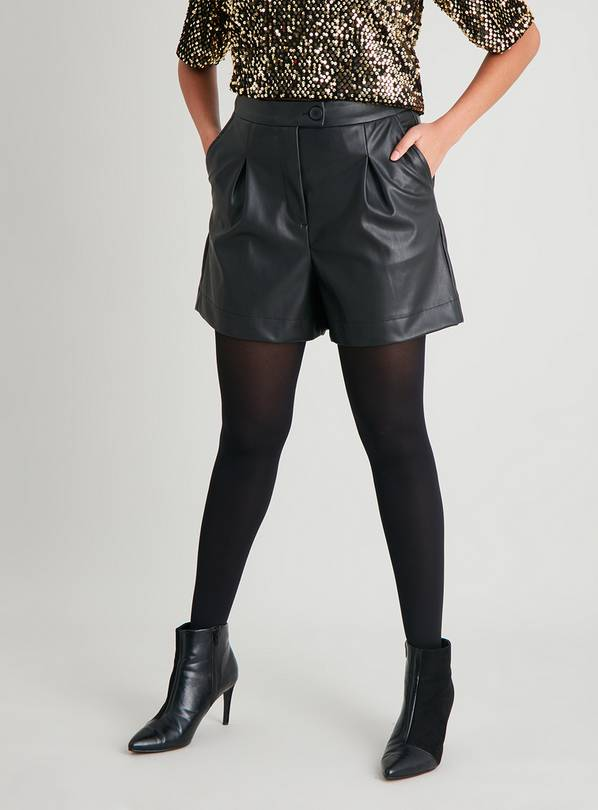 Black Faux Leather Shorts - 14