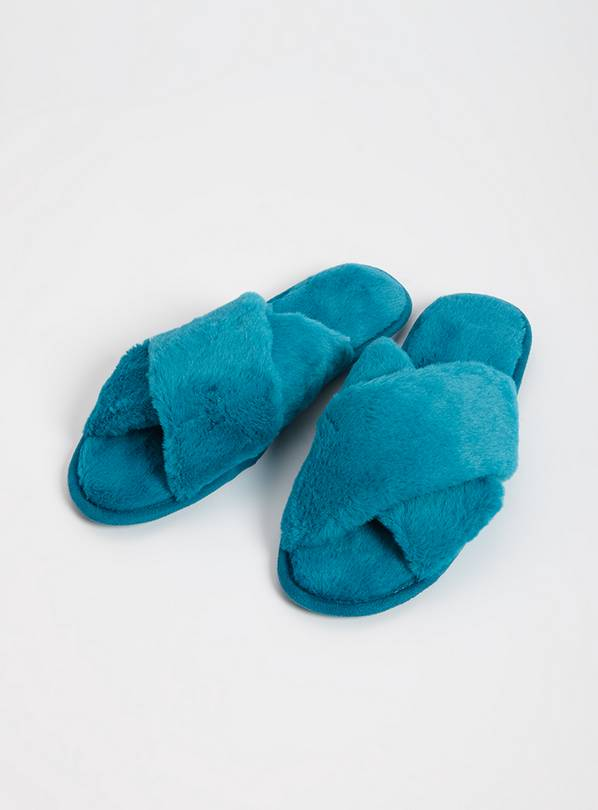 Teal Faux Fur Cross Over Slider Slippers - M