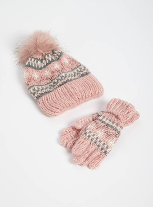 Pink Fair Isle Knitted Beanie Hat & Gloves - 1-2 years