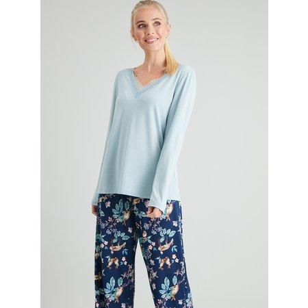 Navy Woodland Print Lace Trim Pyjamas - 8