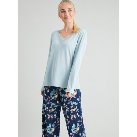 Navy Woodland Print Lace Trim Pyjamas - 10