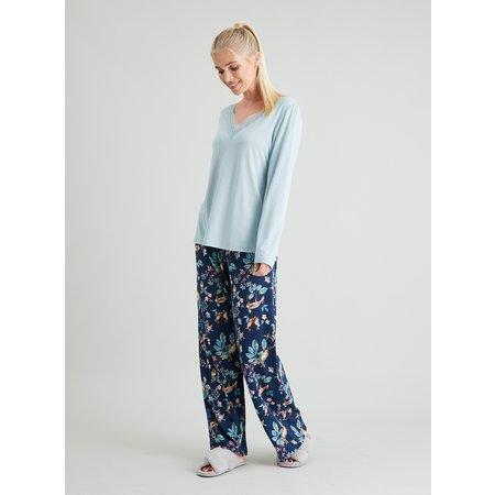 Navy Woodland Print Lace Trim Pyjamas - 22